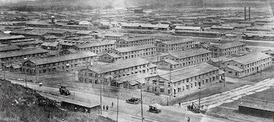 Camp Funston barracks transform the Kansas prairie to train soldiers for World War 1.