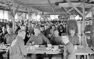 World War 1 soldiers crowd mess hall and Spanish flu spreads