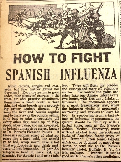 advice on Spanish flu cures during 1918 influenza pandemic