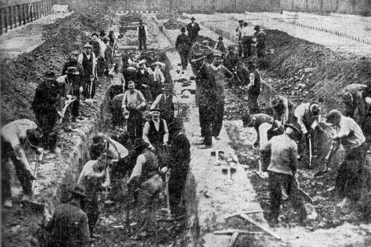 Gravediggers in Philadelphia during the influenza of 1918.