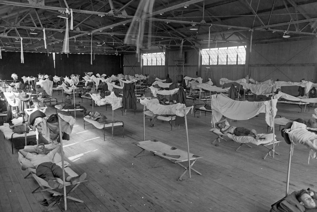 As during COVID-19, patients in 1918 recovered in make-shift convalescent hospitals.