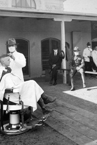 flu pandemic social distant barber shop