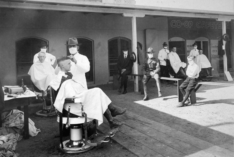 flu pandemic social distant barber shop